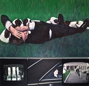 """""""Covered in Puppies"""", Surveillance #2, """"Indicted"""", White House Press Corp Walkling Shot, #1 Oil on linen, canvas or wood panel"""