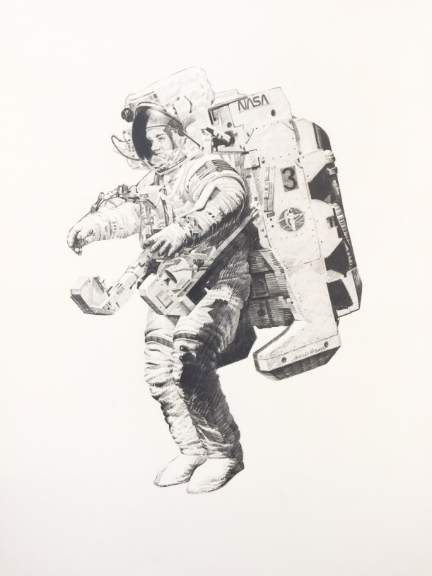 McCandless' untethered EVA, drawing by James Dean