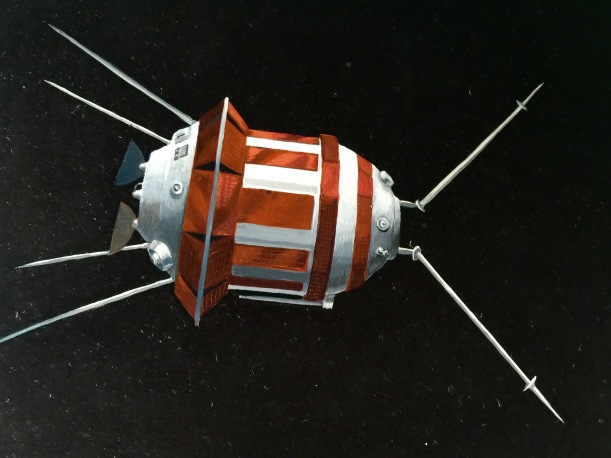 Soviet Lunar Probe, detail, oil on copper